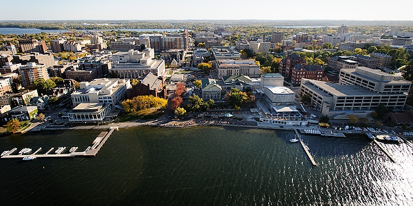 UW-Madison campus aerial view, photo by University Communications